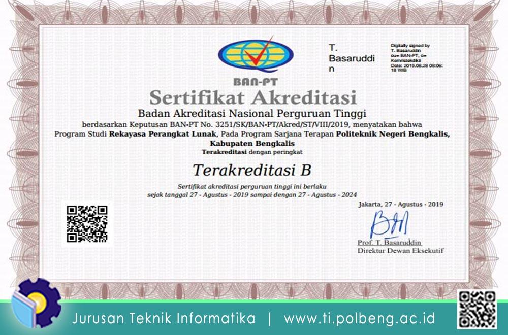 """Program Studi D4 RPL Jurusan Teknik Informatika Politeknik Negeri Bengkalis Telah Resmi Terakreditasi """"B"""" berdasarkan SK BAN-PT"""